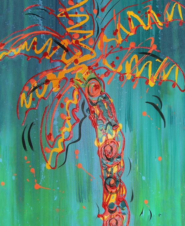 Orange Palm on Blue Background - Decorative Impressions by Ann Lutz
