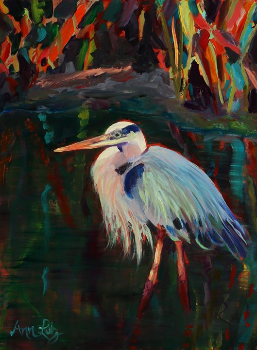 Colorful Blue Heron - Decorative Impressions by Ann Lutz