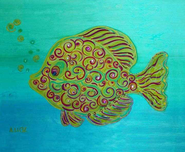 Blue Swirlie Fish - Decorative Impressions by Ann Lutz