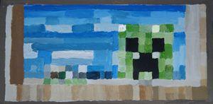 creeper minecraft painting.