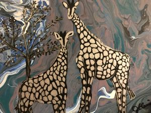 Abstract Mom and Baby Giraffe