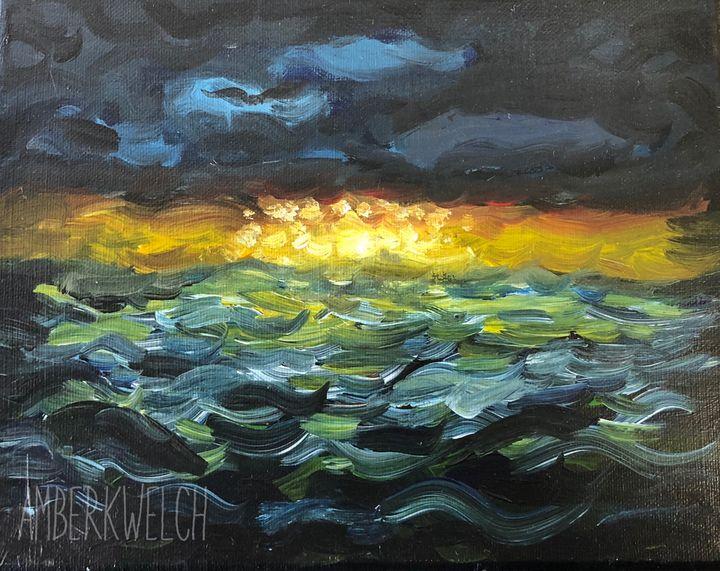 Sunset on Dark Waters - Amberkwelchart