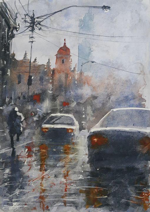 Watercolor Cityscape 4 - Maroo Art