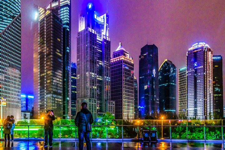 Lujiazui District Nigth Scene, Shang - Photography
