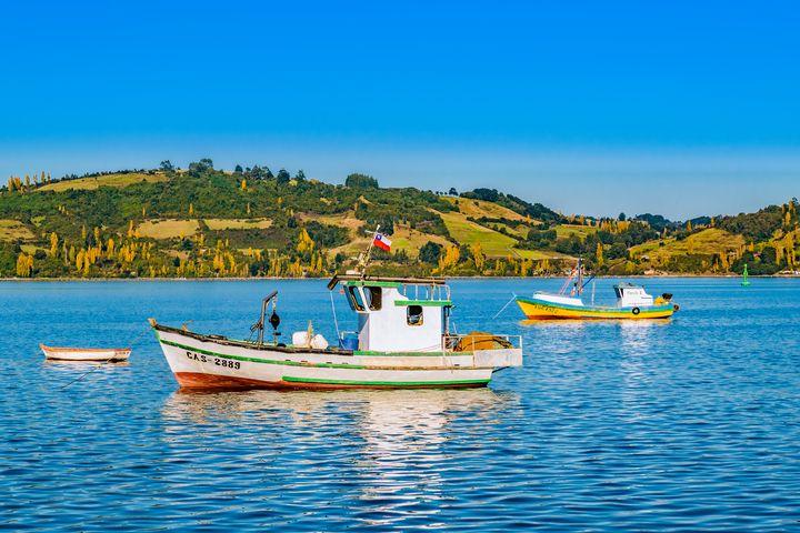 Fishing Boats at Lake, Chiloe, Chile - Photography