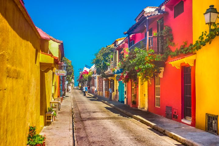 Colonial Style Colorful Houses in Ca - Photography