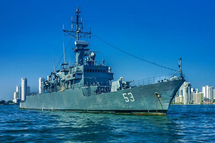 Army Ship in Caribbean Sea at Cartag - Photography