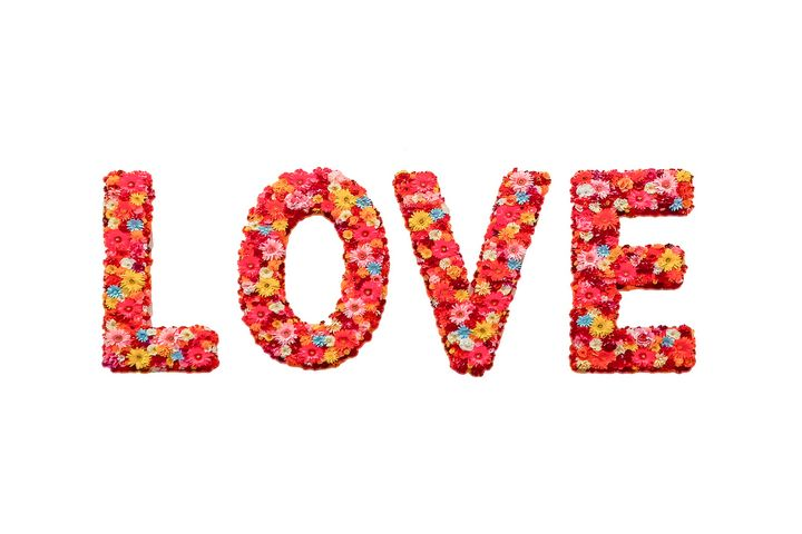 Flower Decorated Love Text Design - Photography