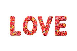 Flower Decorated Love Text Design
