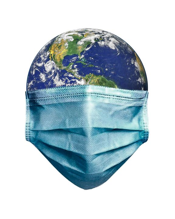 Earth With Face Mask Pandemic Concep - Photography