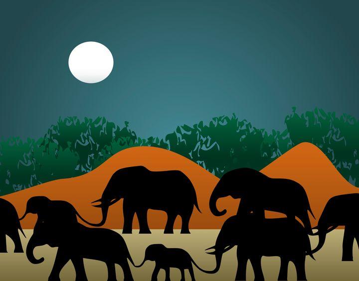 Elephant Family Illustration - Photography