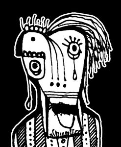 Black and White Grotesque Man Drawin