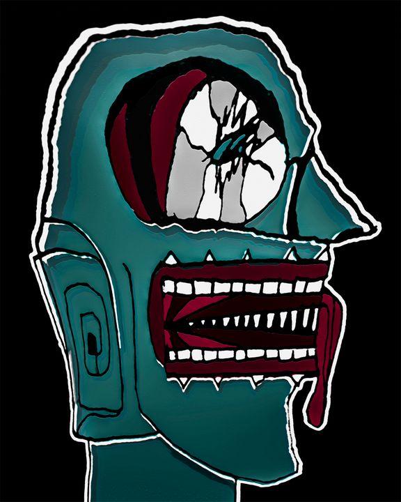Colored Creepy Man Portrait Illustra - Photography