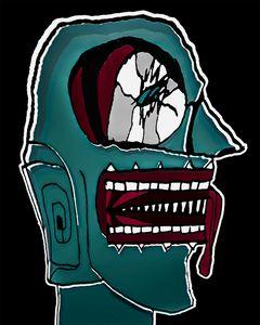 Colored Creepy Man Portrait Illustra