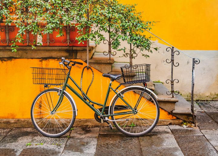 Bicycle Parked at Wall, Lucca, Italy - Photography