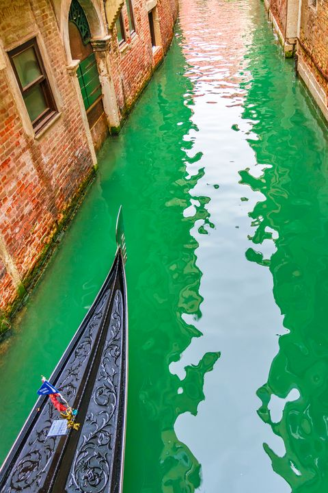 Gondola Crossing Small Canal, Venice - Photography
