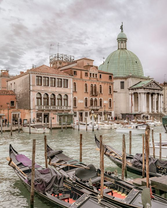 Gondolas Parked at Grand Canal, Veni - Photography