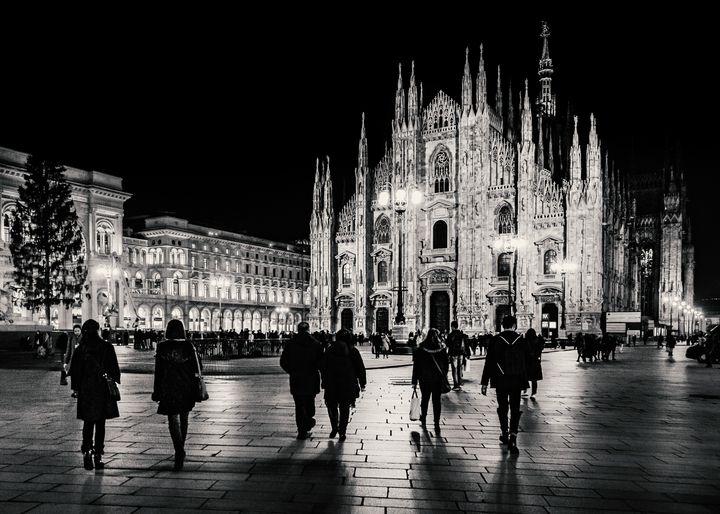 Duomo Piazza Night Scene, Milan City - Photography