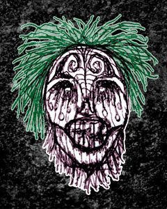 Creepy Zombie Head Illustration