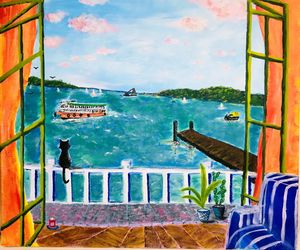 Ferry, balcony & cat