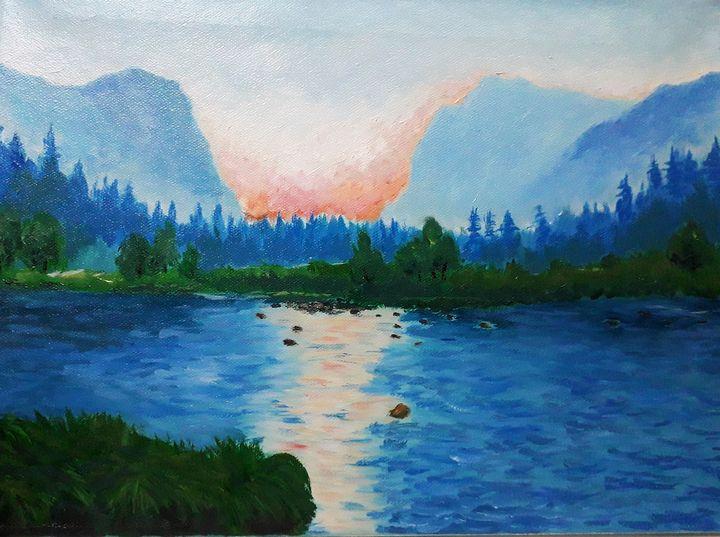 peaceful lake sunset painting - Nika_art