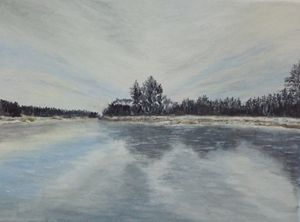 River in Winter 12x9 inch 30.5x 23 c