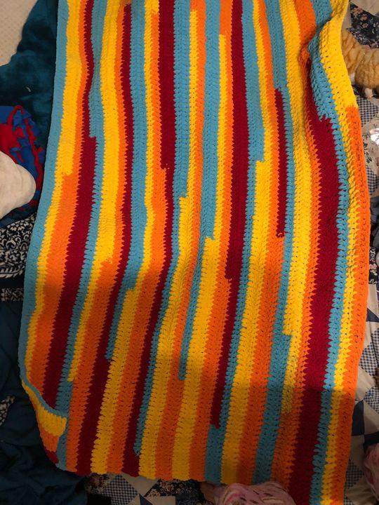 Crochet colorful blanket - Fine Art and Crochet