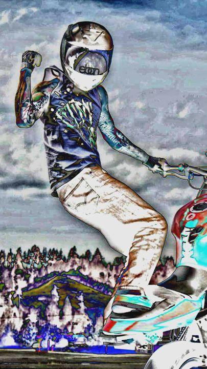 Stunts - Wheelie Art by Amanda Puggle