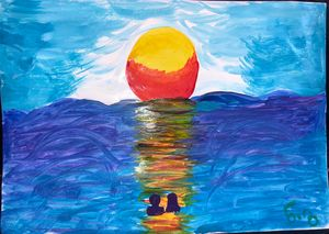 Sun's fall at the black sea - Nino's painting