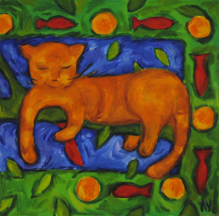 Cat's dreams on orange tree - Lu Sakhno's Art Gallery