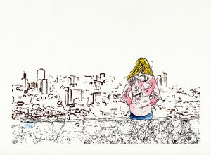 Girl watching the city