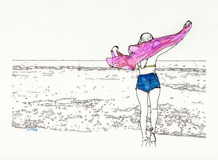 Girl on the beach - Carlos Segui