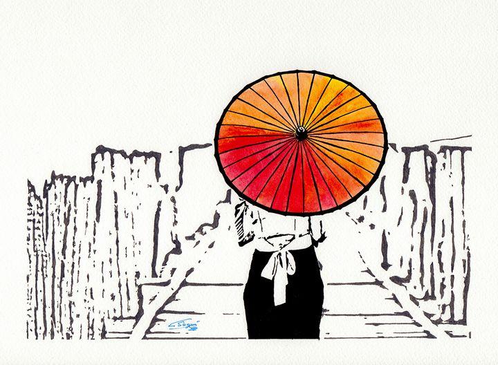 Woman with umbrella - Carlos Segui