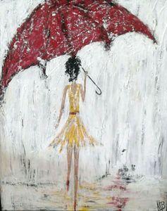 Yellow dress in the rain
