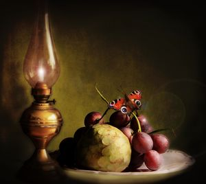 Lamp, butterfly and fruits