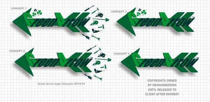 Green Arrow Logo Concepts - Designs by Johnny Praize
