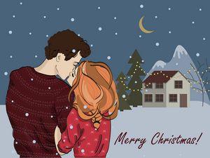 Romantic couple Christmas card