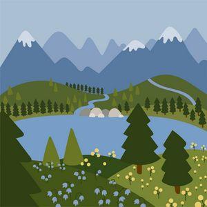Blue mountains flat landscape