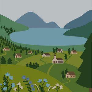 Mountain village flat landscape