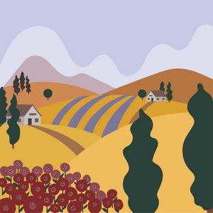 Tuscan village flat vector landscape