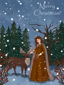 Christmas greeting card Magic forest