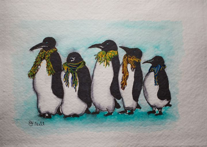 Penguins in Scarves - Machale O'Neill