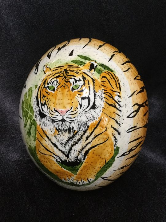 Playful Tigers - Pysanky by Fiona