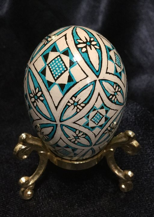Blue/Brown Circles - Pysanky by Fiona