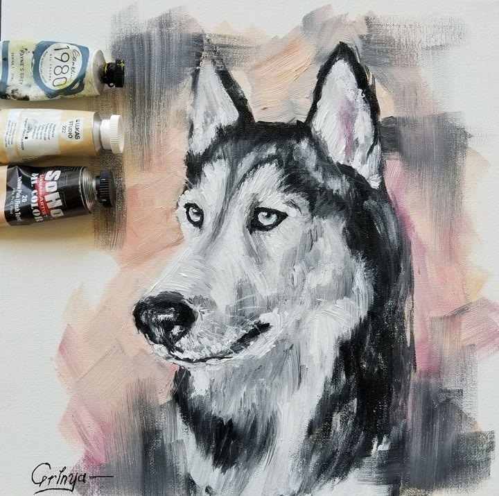 Husky original oil painting on canva - Grinya