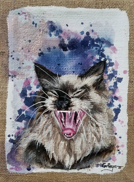 Kitty cat original mixed media on ca - Grinya