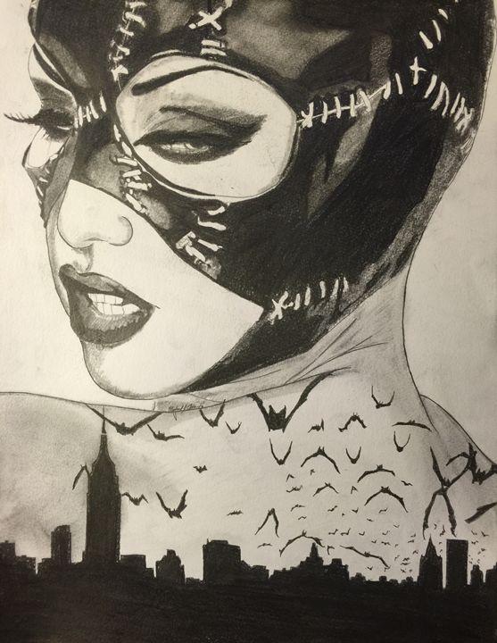 Catwoman over gotham - Michael J Adams art