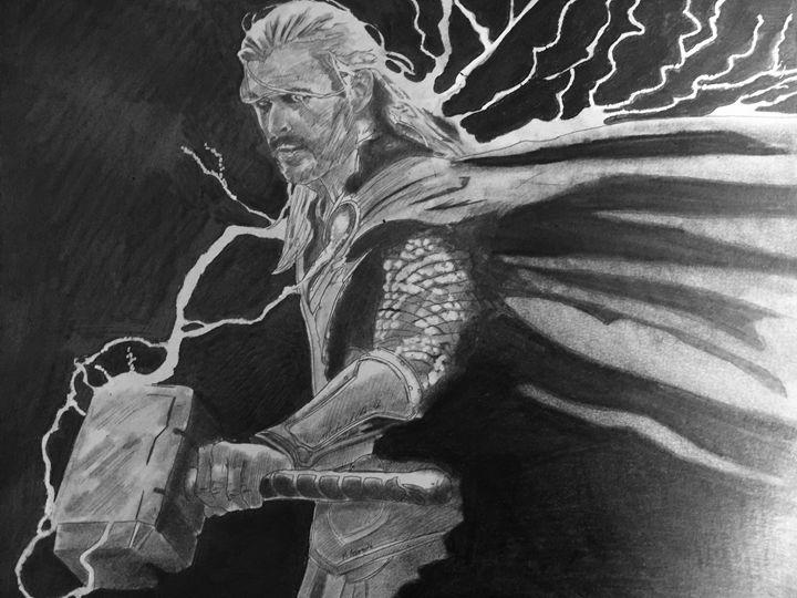 Thor yeilding the power - Michael J Adams art
