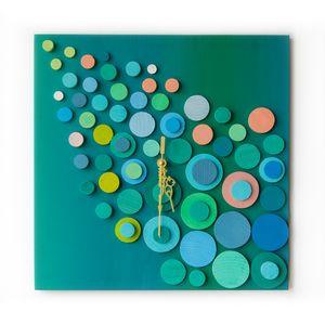 Turquoise ray 3D clock 35x35cm