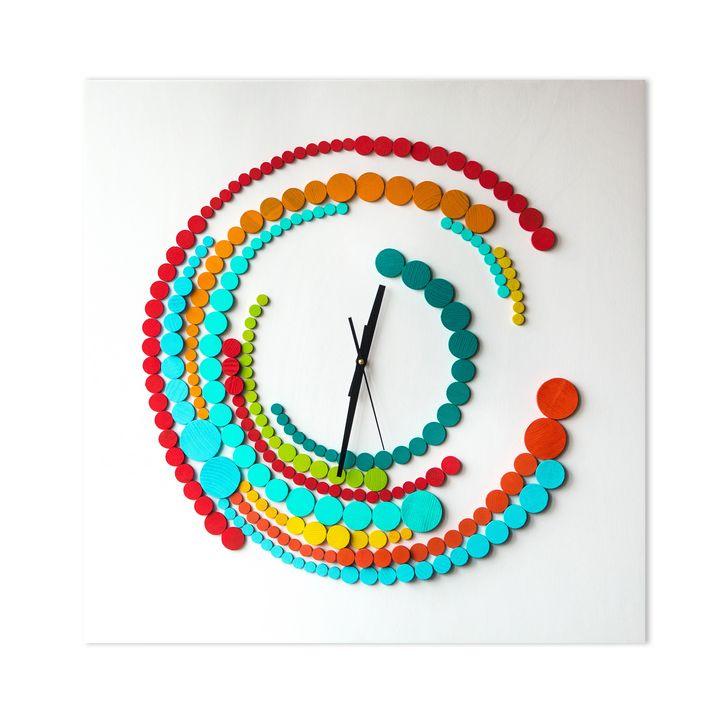 Quantica wood clock 70x70 cm - Liliana Stoica